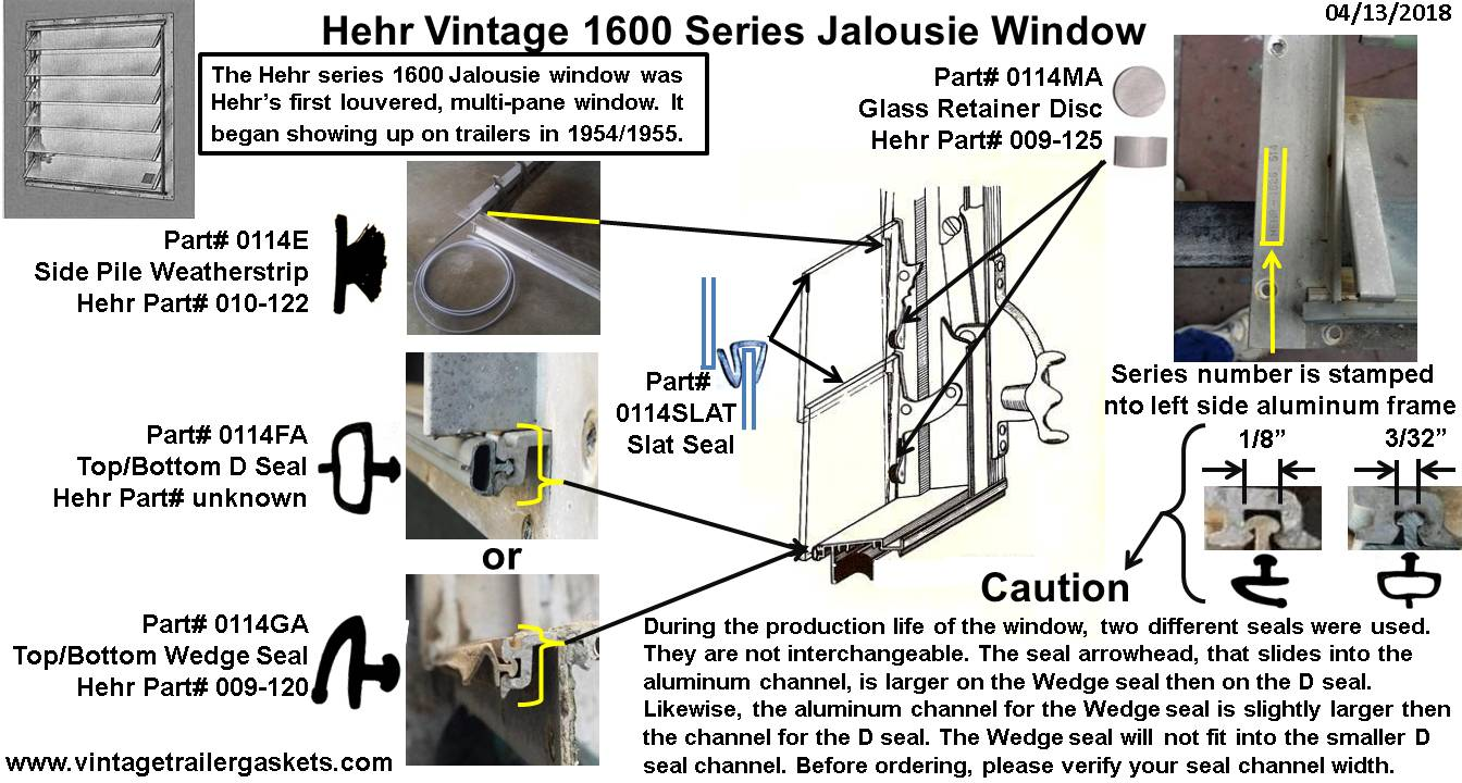 Vintage Window Library Trailer Gaskets Original Wiring Diagram Of 1965 Comet 110 Hehr 1626 Jalousie Restoration