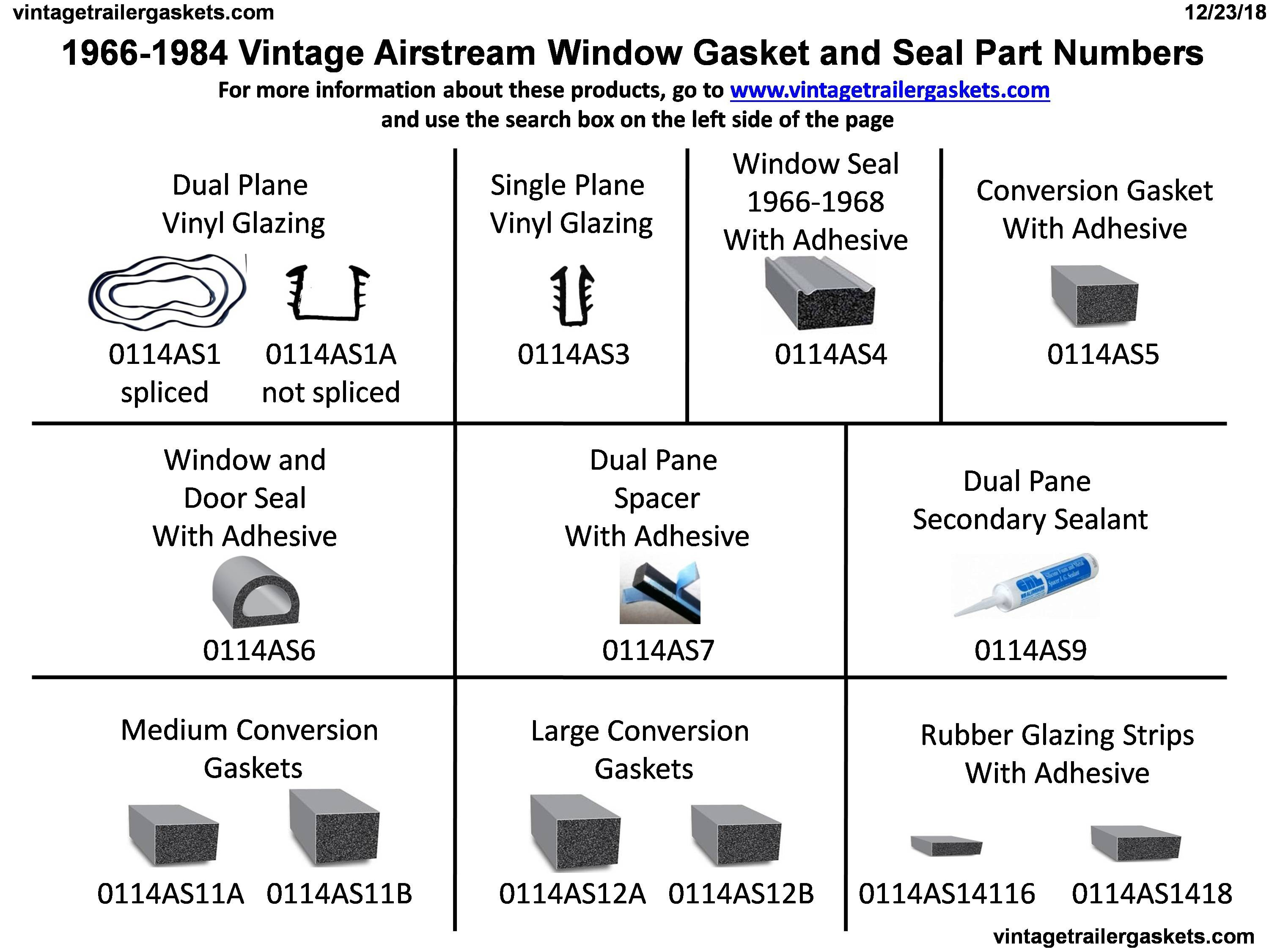1966 to 1984 Airstream Window Gaskets and Seals